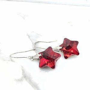 Jewelry - Red Crystal Star Earrings